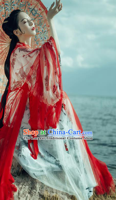 Chinese Traditional Jin Dynasty Court Concubine Replica Costumes Ancient Goddess Imperial Consort Hanfu Dress for Women