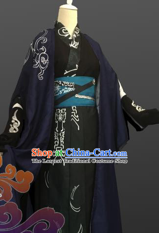 Custom Chinese Ancient Cosplay Taoist Priest Black Clothing Traditional Knight Swordsman Costume for Men