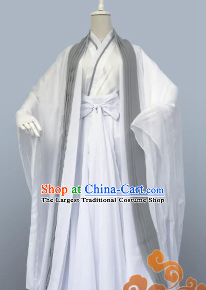 Custom Chinese Ancient Cosplay Taoist Priest Swordsman White Clothing Traditional Nobility Childe Costume for Men