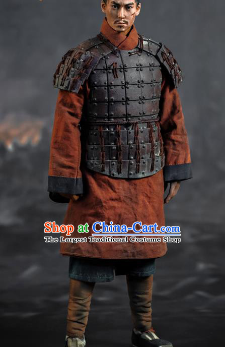 Chinese Ancient Soldier Armor and Helmet Traditional Qin Dynasty Military Officer Costumes Complete Set for Men