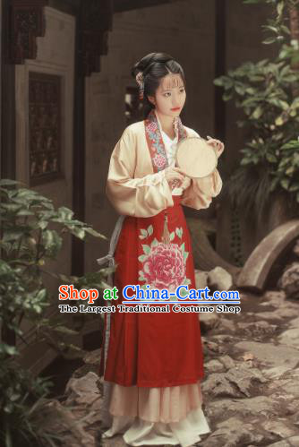 Traditional Chinese Ming Dynasty Nobility Lady Hanfu Dress Ancient Court Maid Replica Costumes for Women