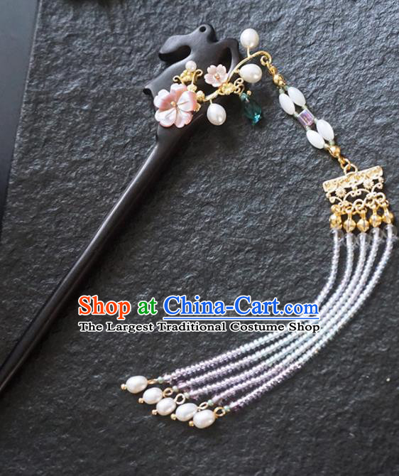 Chinese Ancient Princess Tassel Step Shake Ebony Hairpins Traditional Handmade Hanfu Hair Accessories for Women