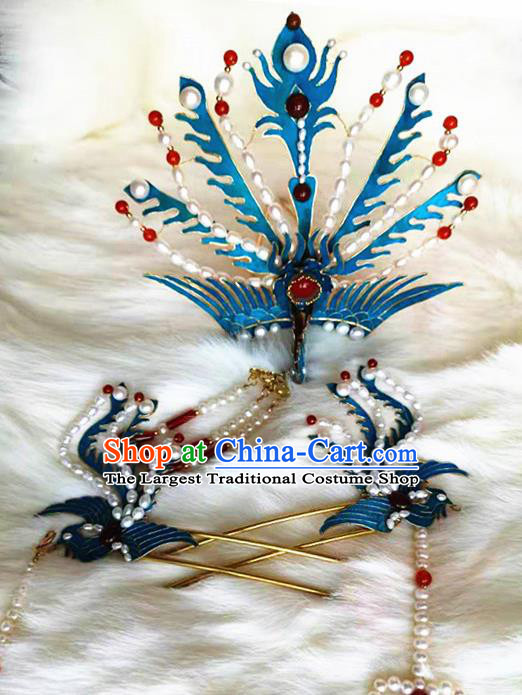 Ancient Chinese Qing Dynasty Phoenix Hairpins Tassel Step Shake Traditional Hanfu Court Hair Accessories for Women