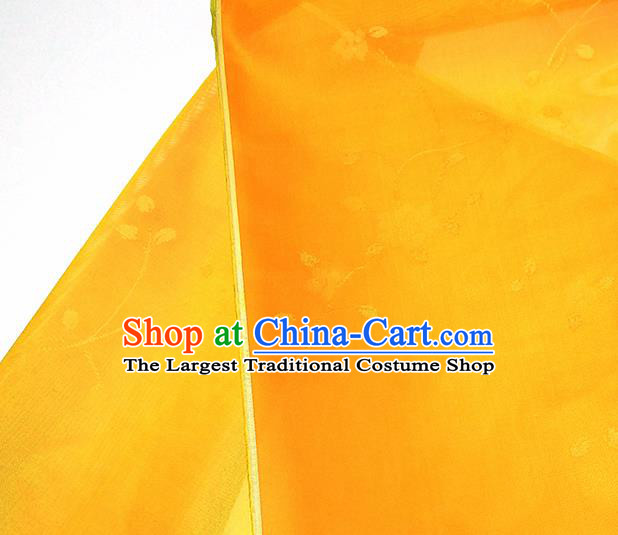 Asian Chinese Traditional Flowers Branch Pattern Design Orange Silk Fabric China Hanfu Silk Material