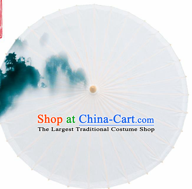 Chinese Traditional Printing Mountain White Oil Paper Umbrella Artware Paper Umbrella Classical Dance Umbrella Handmade Umbrellas