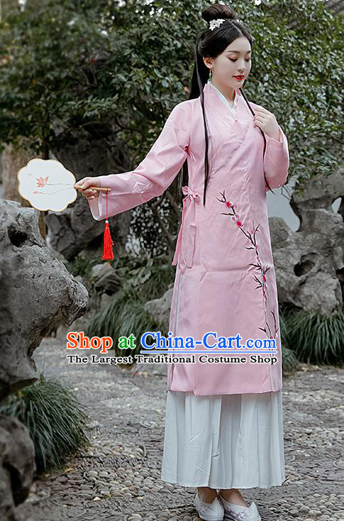 Chinese Drama Lin Daiyu Costumes Ancient Traditional Ming Dynasty Nobility Lady Pink Hanfu Dress for Women