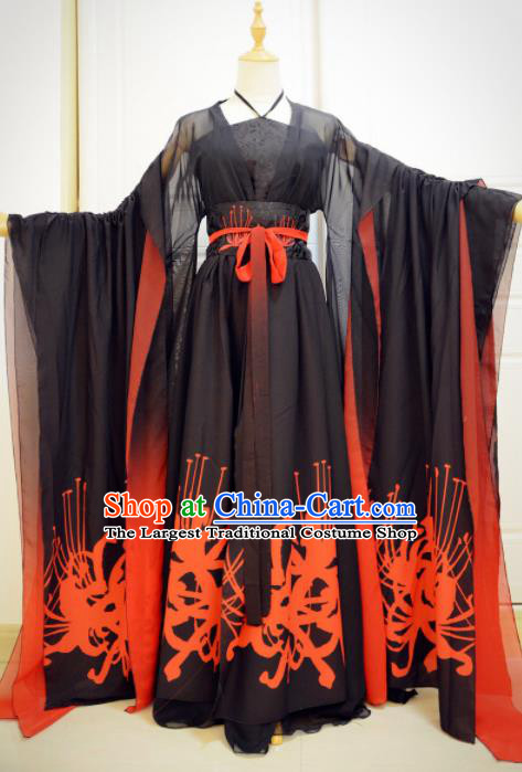 Chinese Traditional Cosplay Goddess Black Costumes Ancient Female Swordsman Hanfu Dress for Women