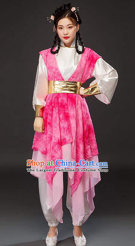 Traditional Chinese Song Dynasty Female Swordsman Huang Rong Pink Dress Ancient Drama Heroine Costumes for Women