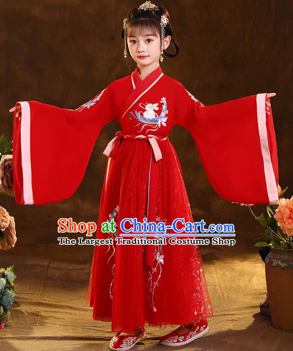 Chinese Traditional Hanfu Red Blouse and Skirt Ancient Jin Dynasty Girl Costumes Apparels for Kids