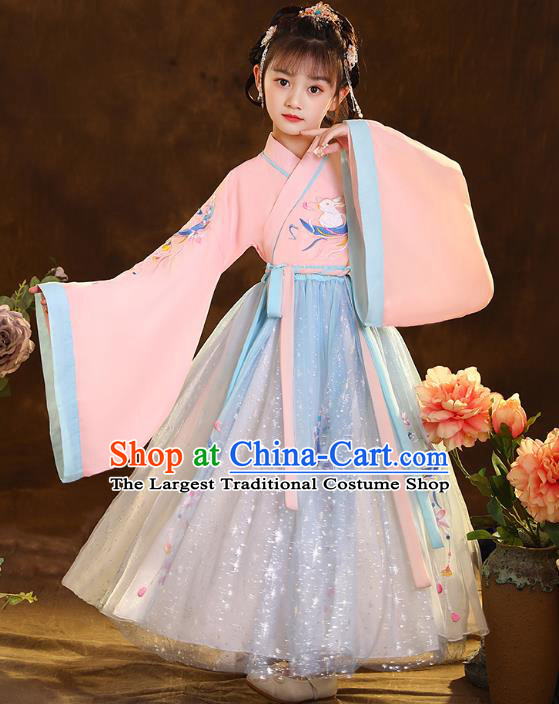 Chinese Traditional Hanfu Pink Blouse and Blue Skirt Ancient Jin Dynasty Girl Costumes Apparels for Kids