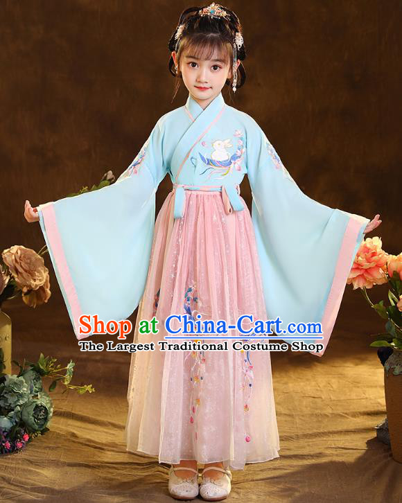 Chinese Traditional Hanfu Blue Blouse and Pink Skirt Ancient Jin Dynasty Girl Costumes Apparels for Kids