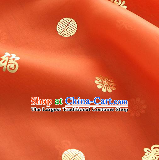 Asian Korea Traditional Longevity Chrysanthemum Pattern Orange Silk Fabric Korean Fashion Hanbok Material