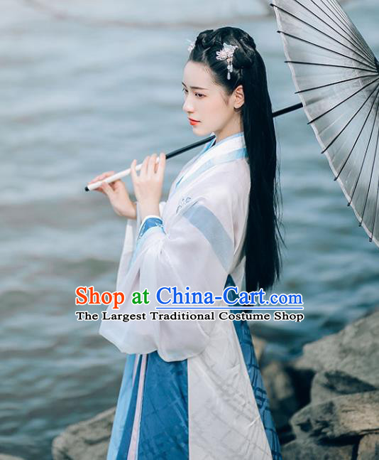 Chinese Ancient Princess White Top Blouse and Skirt Traditional Hanfu Apparels Jin Dynasty Palace Lady Historical Costumes