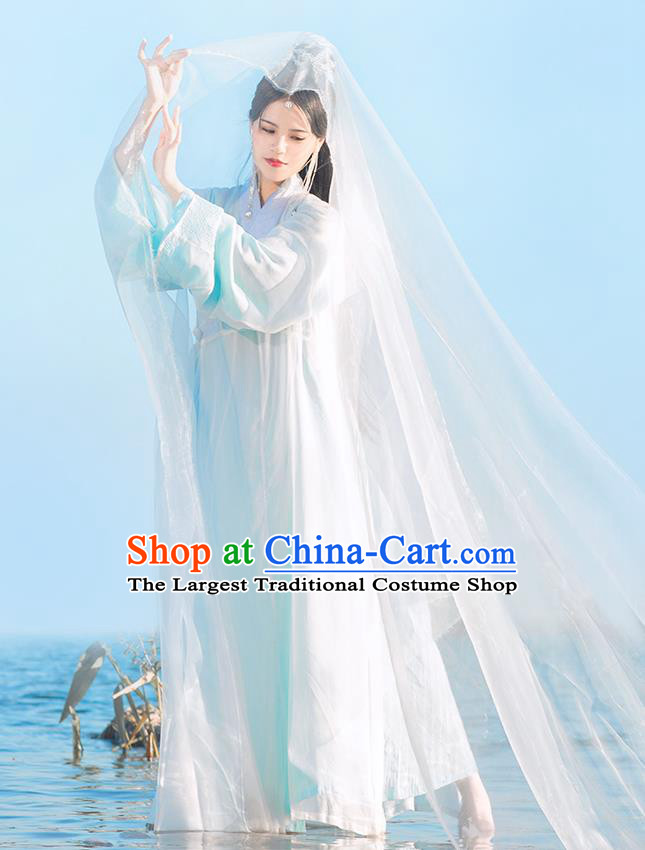Chinese Ming Dynasty Female Swordsman Dress Traditional Hanfu Apparels Ancient Taoist Nun Historical Costumes