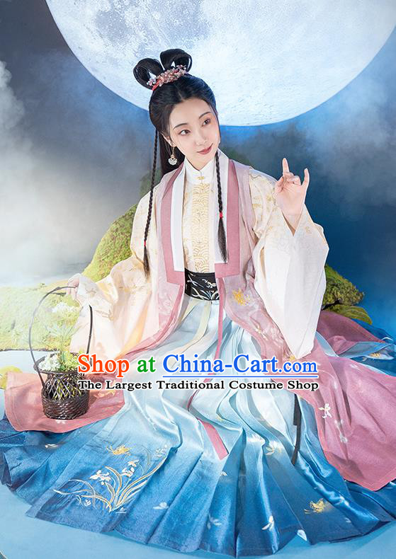 Chinese Ancient Goddess Princess Embroidered Hanfu Dress Traditional Ming Dynasty Court Woman Historical Costumes Complete Set