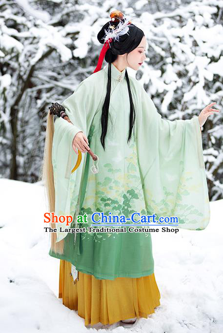 Chinese Ancient Taoist Nun Hanfu Apparels Traditional Ming Dynasty Noble Lady Green Gown and Skirt Historical Costumes Complete Set