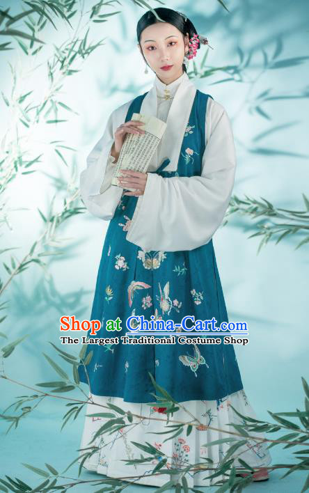 Chinese Ming Dynasty Patrician Women Historical Costumes Traditional Hanfu Apparels Ancient Countess Embroidered Green Vest