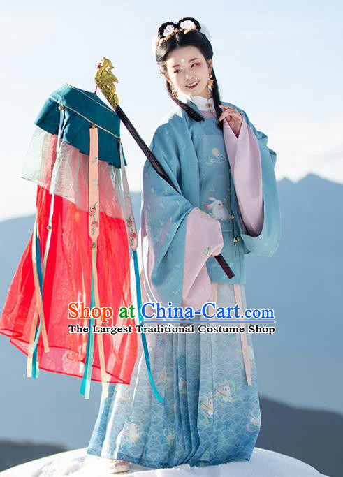 Chinese Ancient Patrician Lady Historical Costumes Traditional Ming Dynasty Hanfu Apparels Embroidered Blue Blouse and Skirt Complete Set