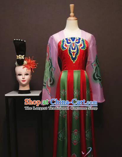 China Classical Dance Costumes Fan Dance Dress Spring Festival Gala Flying Dance Clothing and Headwear