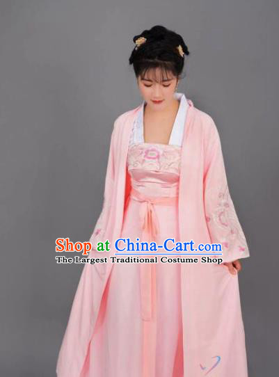 China Ancient Noble Female Pink Hanfu Dress Traditional Clothing Drama Song Dynasty Patrician Lady Sheng Minglan Costume