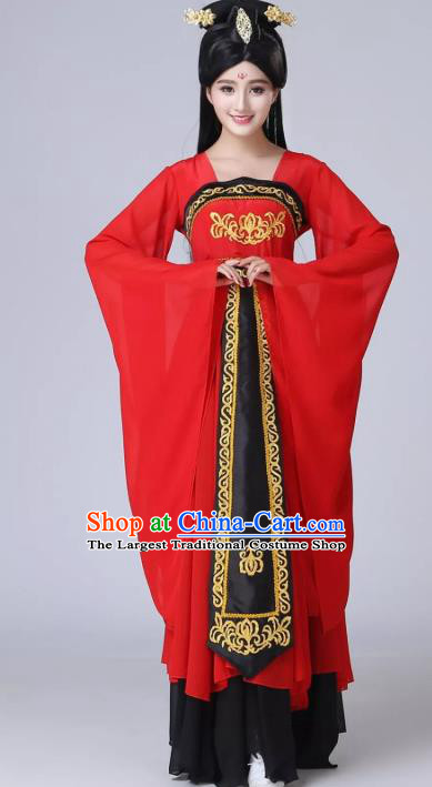 China Traditional Classical Dance Costume Court Lady Dance Performance Clothing Fan Dance Red Chiffon Dress