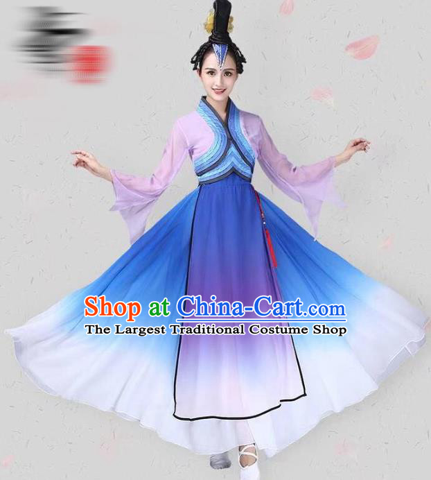 China Classical Dance Costume Traditional Fan Dance Clothing Dance Competition Performance Lilac Dress and Headwear