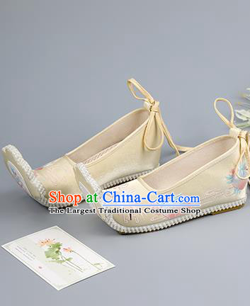 China Traditional Hanfu Shoes Ancient Princess Shoes Ming Dynasty Shoes Light Yellow Embroidered Shoes