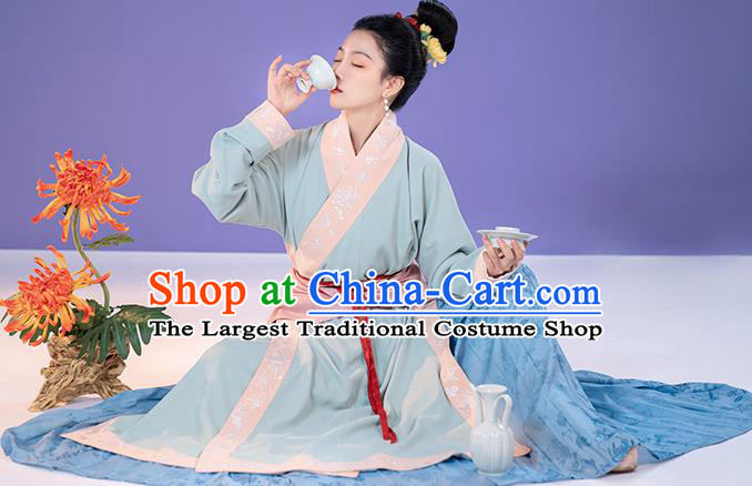 China Ancient Song Dynasty Apparels Country Woman Clothing Blue Hanfu Dress Complete Set