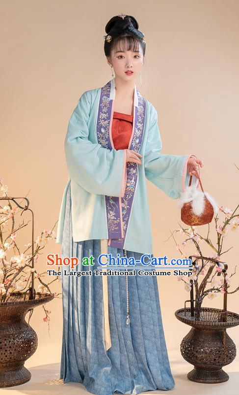 China Ancient Song Dynasty Nobility Female Hanfu Clothing Embroidered Blue Blouse Top and Skirt for Women