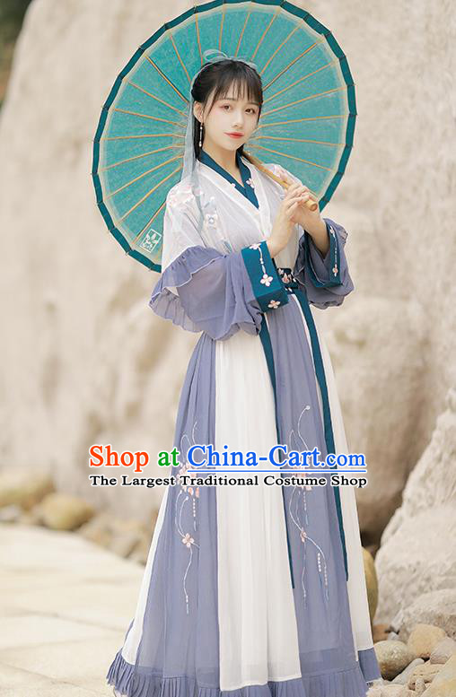 Traditional China Jin Dynasty Young Lady Historical Costumes Ancient Female Sowrdsman Hanfu Clothing Full Set