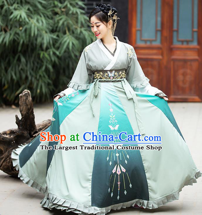 China Ancient Court Lady Hanfu Dress Apparels Traditional Jin Dynasty Royal Princess Costumes Complete Set