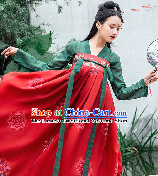 China Ancient Court Maid Clothing Tang Dynasty Country Women Hanfu Dress Traditional Apparels