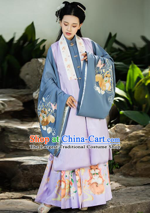 China Ancient Royal Princess Hanfu Clothing Traditional Ming Dynasty Noble Infanta Embroidered Lilac Vest Blouse and Skirt Complete Set