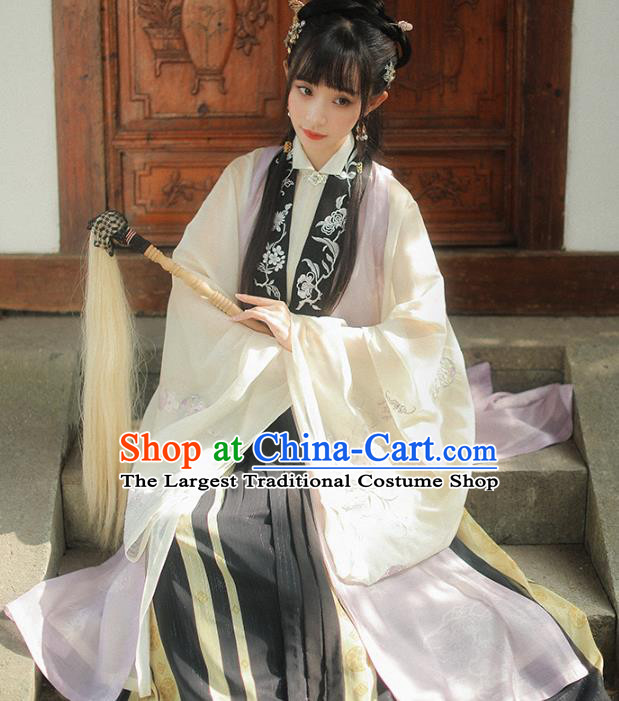 China Ancient Taoist Nun Costumes Traditional Ming Dynasty Hanfu Clothing Long Vest Gown and Skirt Complete Set