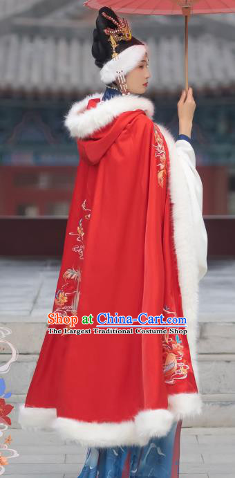 Chinese Ming Dynasty Infanta Cloak Historical Costumes Traditional Hanfu Apparels Ancient Princess Embroidered Red Cape for Women