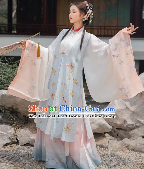 Chinese Ancient Costumes Traditional Ming Dynasty Rich Female Embroidered Vest Long Gown and Skirt Complete Set