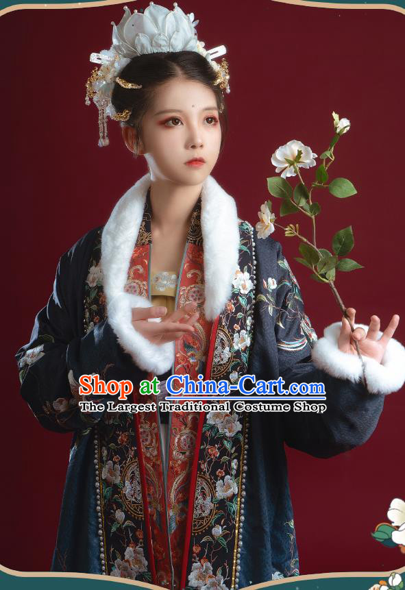 China Ancient Imperial Consort Embroidered Hanfu Clothing Traditional Song Dynasty Court Empress Historical Costumes