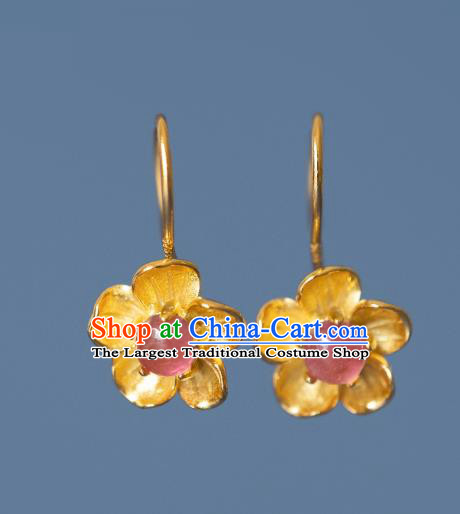 China Traditional Ming Dynasty Gilding Peach Blossom Earrings Ancient Court Lady Tourmaline Ear Jewelry