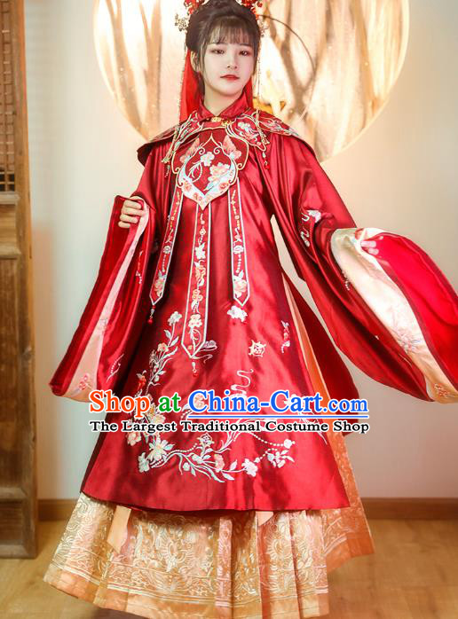 China Ancient Palace Princess Historical Clothing Ming Dynasty Embroidered Costumes Traditional Wedding Red Hanfu Dress