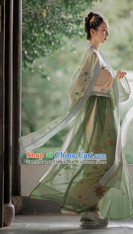 China Ancient Young Lady Hanfu Costumes Traditional Song Dynasty Historical Clothing Full Set