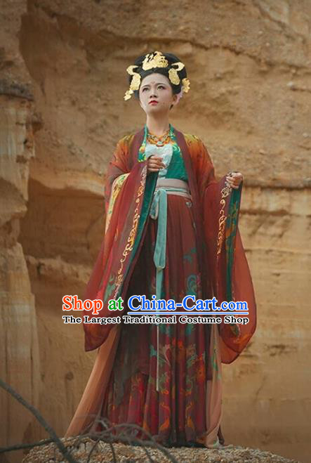 China Ancient Imperial Consort Hanfu Dress Wedding Costumes Traditional Tang Dynasty Court Woman Historical Clothing