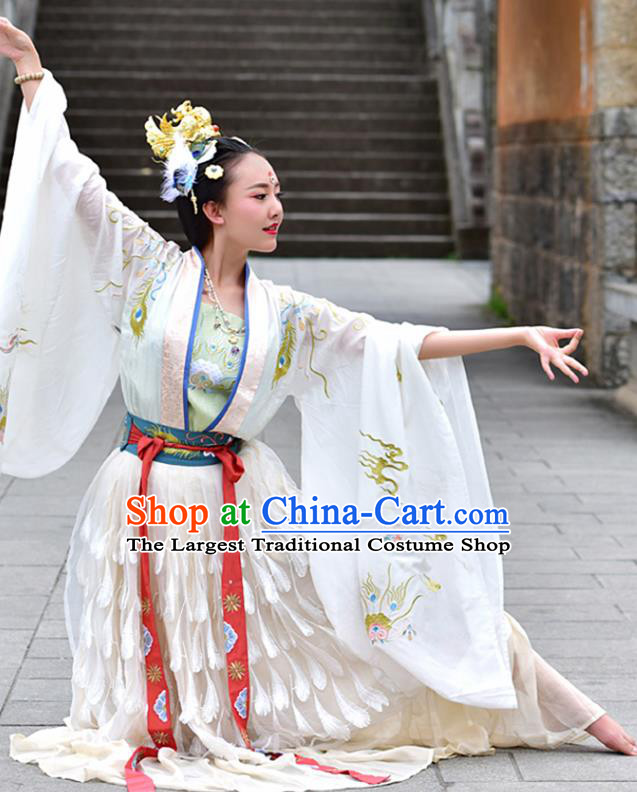 China Ancient Court Lady Dance White Hanfu Dress Traditional Tang Dynasty Imperial Consort Historical Costume