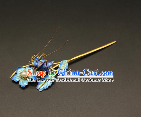 China Handmade Blueing Grasshopper Hair Clip Ancient Imperial Consort Hairpin Traditional Qing Dynasty Court Hair Accessories
