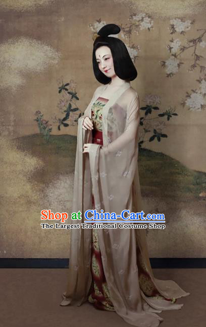 China Traditional Tang Dynasty Palace Lady Hanfu Dress Ancient Imperial Consort Historical Clothing