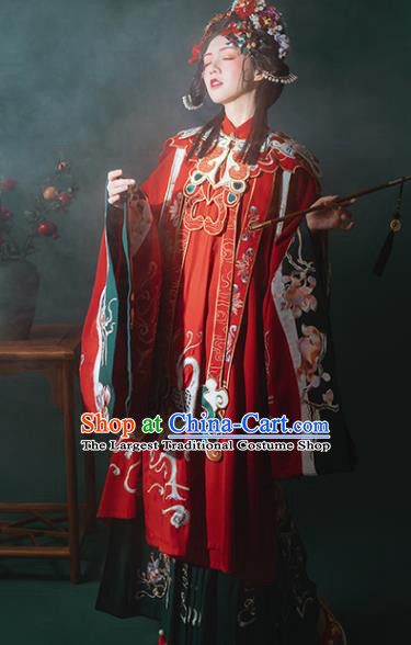 China Ancient Ming Dynasty Noble Lady Costumes Traditional Red Hanfu Dress Embroidered Court Princess Clothing