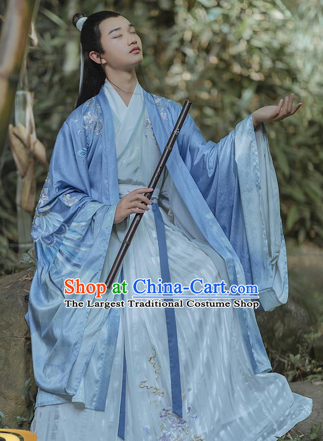 China Traditional Ancient Scholar Embroidered Hanfu Apparels Jin Dynasty Royal Prince Clothing for Men