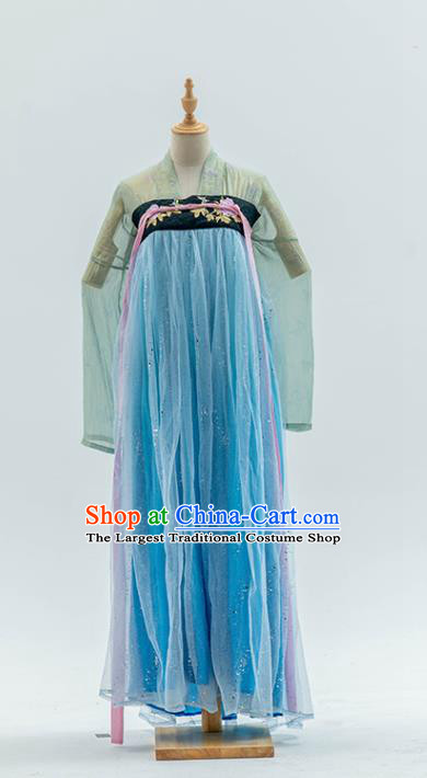 China Traditional Costumes Tang Dynasty Imperial Princess Historical Clothing Ancient Court Lady Blue Hanfu Dress