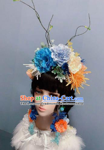 Top Wedding Princess Hair Accessories Chaplet Stage Show Headwear Handmade Blue Peony Royal Crown