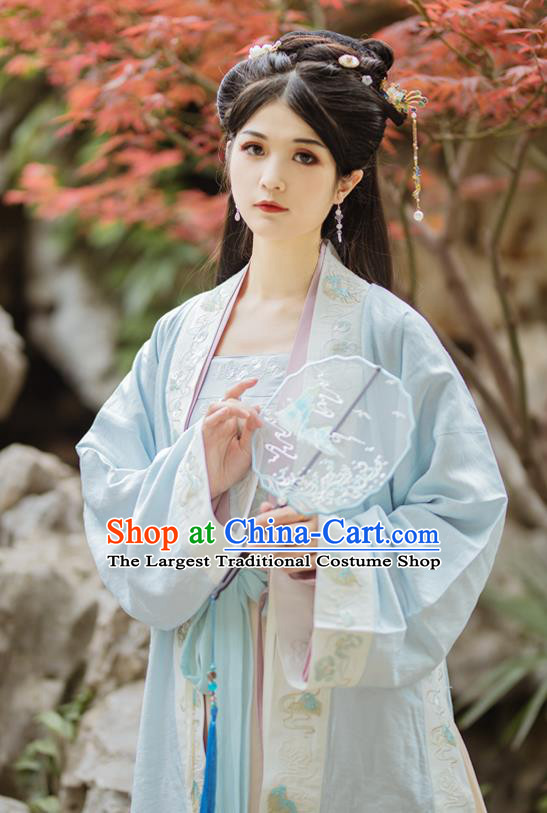 China Ancient Patrician Beauty Hanfu Clothing Traditional Song Dynasty Nobility Lady Historical Costumes Complete Set
