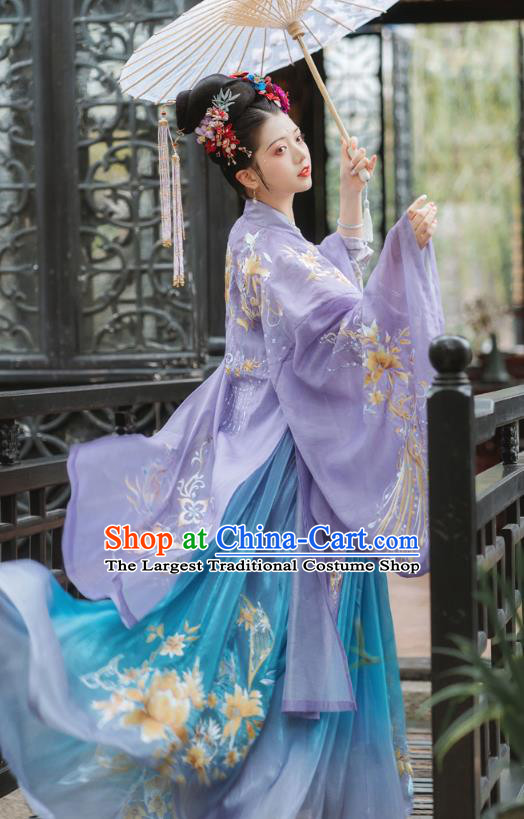China Traditional Tang Dynasty Imperial Concubine Clothing Ancient Court Female Embroidered Hanfu Dress Complete Set